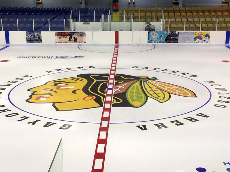 BlackHawks center ice logo